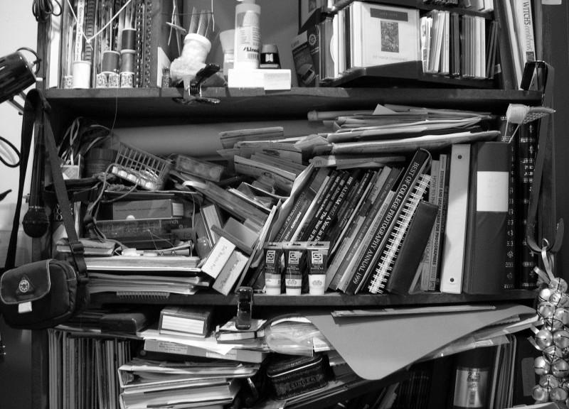 cluttered shelf